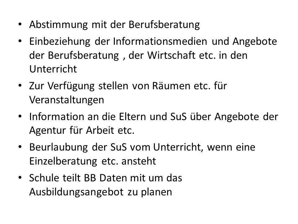 Abstimmung mit der Berufsberatung Einbeziehung der Informationsmedien und Angebote der Berufsberatung, der Wirtschaft etc.