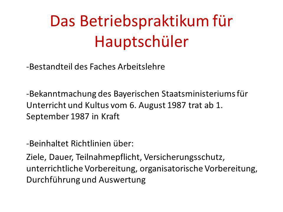 Das Betriebspraktikum für Hauptschüler -Bestandteil des Faches Arbeitslehre -Bekanntmachung des Bayerischen Staatsministeriums für Unterricht und Kultus vom 6.