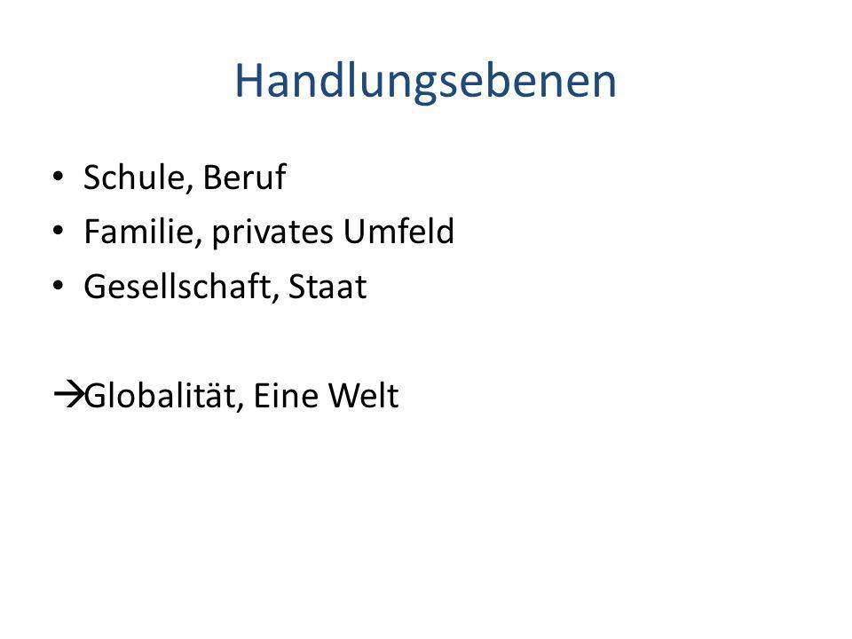 Handlungsebenen Schule, Beruf Familie, privates Umfeld Gesellschaft, Staat Globalität, Eine Welt