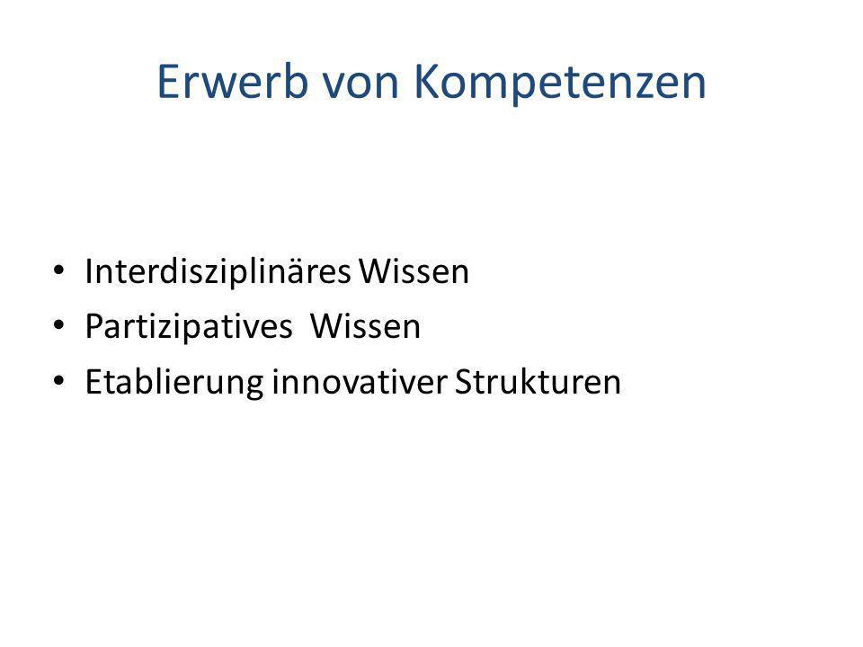 Erwerb von Kompetenzen Interdisziplinäres Wissen Partizipatives Wissen Etablierung innovativer Strukturen