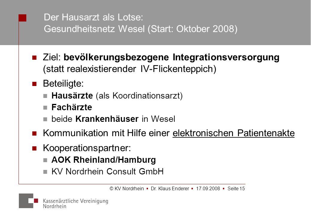 © KV Nordrhein Dr. Klaus Enderer 17.09.2008 Seite 15 Ziel: bevölkerungsbezogene Integrationsversorgung (statt realexistierender IV-Flickenteppich) Bet