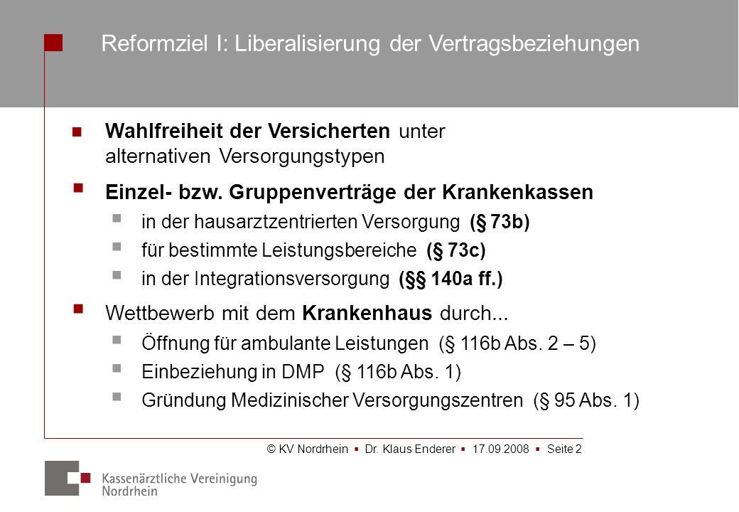 © KV Nordrhein Dr. Klaus Enderer 17.09.2008 Seite 2 Wahlfreiheit der Versicherten unter alternativen Versorgungstypen Einzel- bzw. Gruppenverträge der