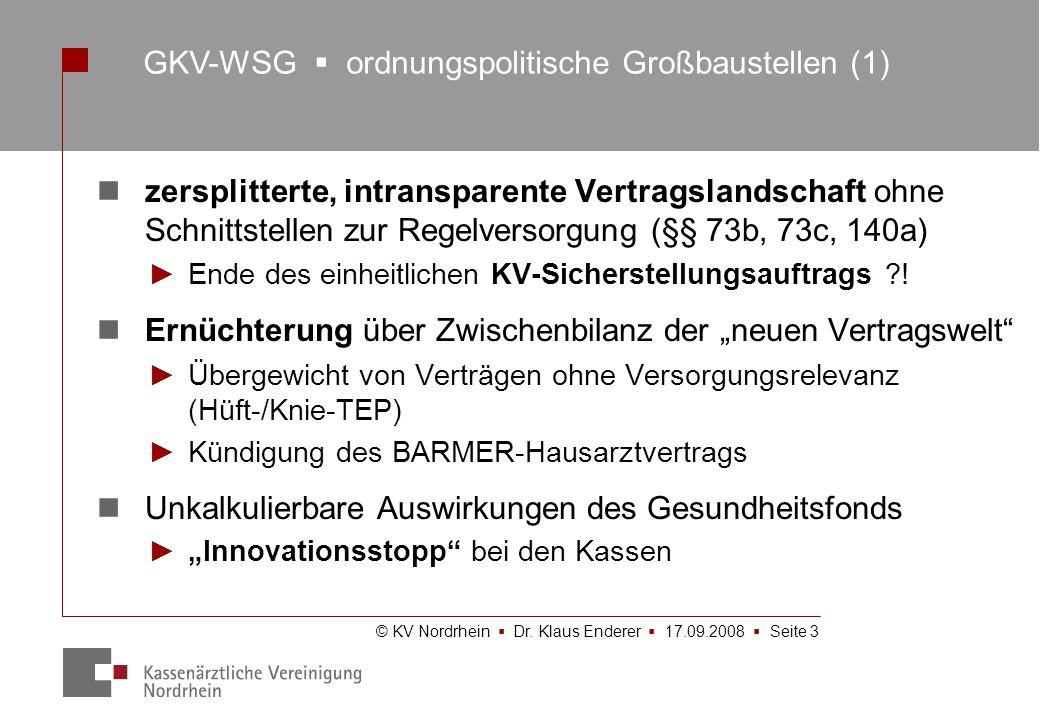 © KV Nordrhein Dr. Klaus Enderer 17.09.2008 Seite 3 zersplitterte, intransparente Vertragslandschaft ohne Schnittstellen zur Regelversorgung (§§ 73b,