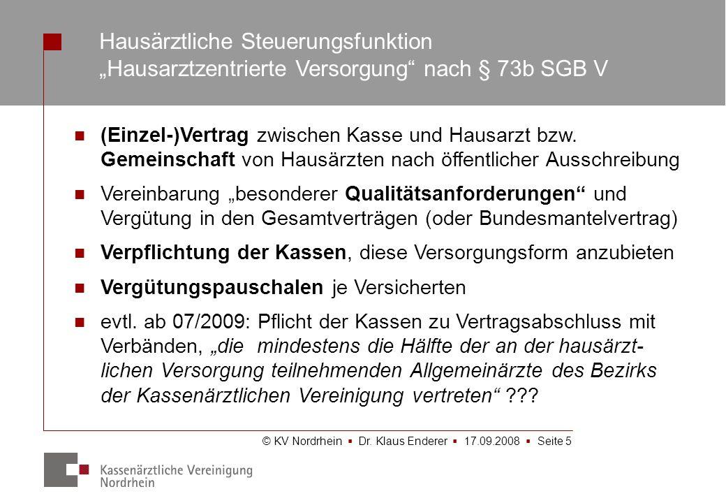 © KV Nordrhein Dr. Klaus Enderer 17.09.2008 Seite 5 Hausärztliche Steuerungsfunktion Hausarztzentrierte Versorgung nach § 73b SGB V (Einzel-)Vertrag z