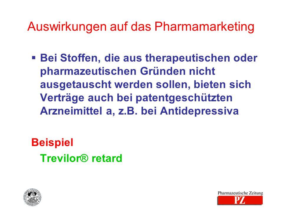 Auswirkungen auf das Pharmamarketing Bei Stoffen, die aus therapeutischen oder pharmazeutischen Gründen nicht ausgetauscht werden sollen, bieten sich