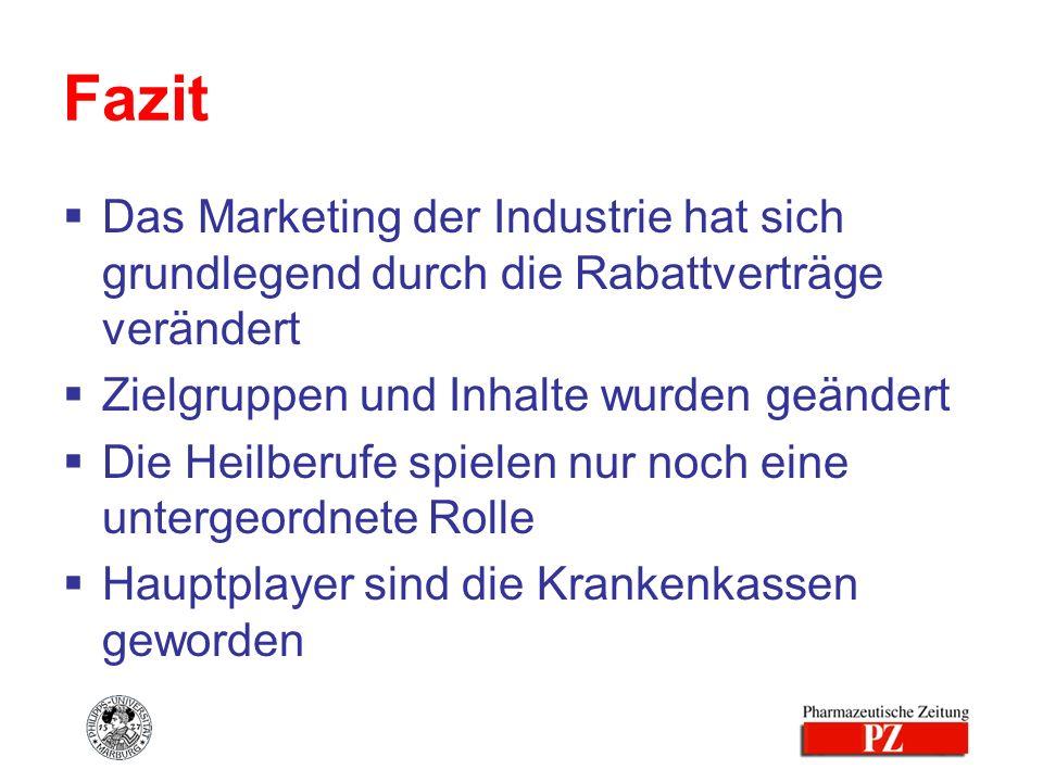 Fazit Das Marketing der Industrie hat sich grundlegend durch die Rabattverträge verändert Zielgruppen und Inhalte wurden geändert Die Heilberufe spiel