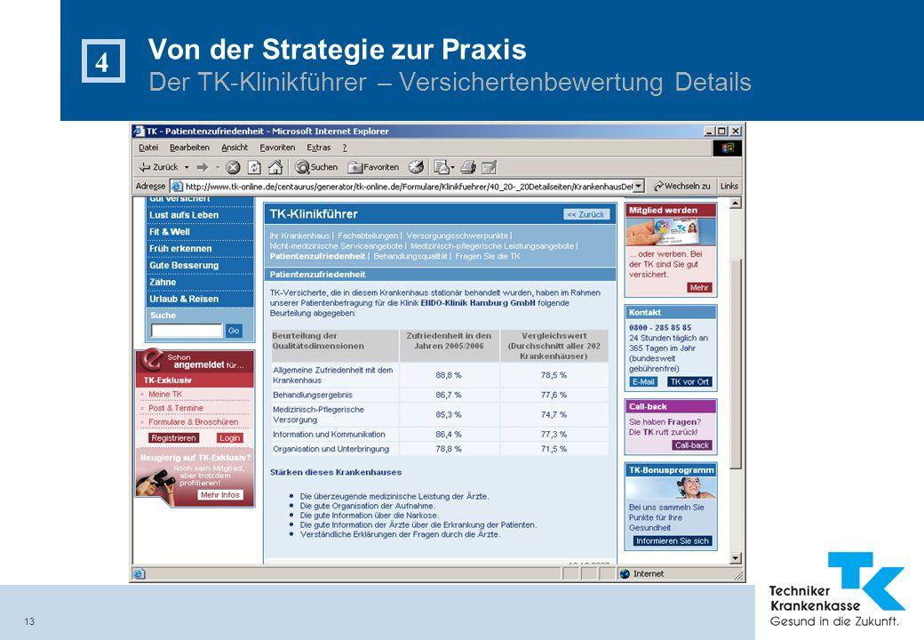 13 Von der Strategie zur Praxis Der TK-Klinikführer – Versichertenbewertung Details 4