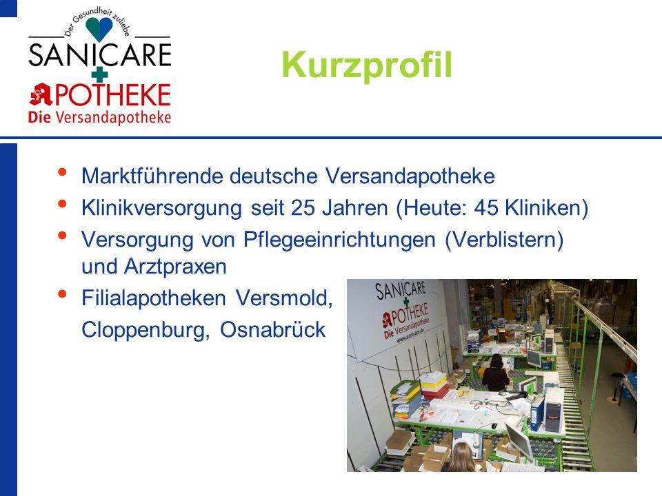 2 Kurzprofil Marktführende deutsche Versandapotheke Klinikversorgung seit 25 Jahren (Heute: 45 Kliniken) Versorgung von Pflegeeinrichtungen (Verbliste