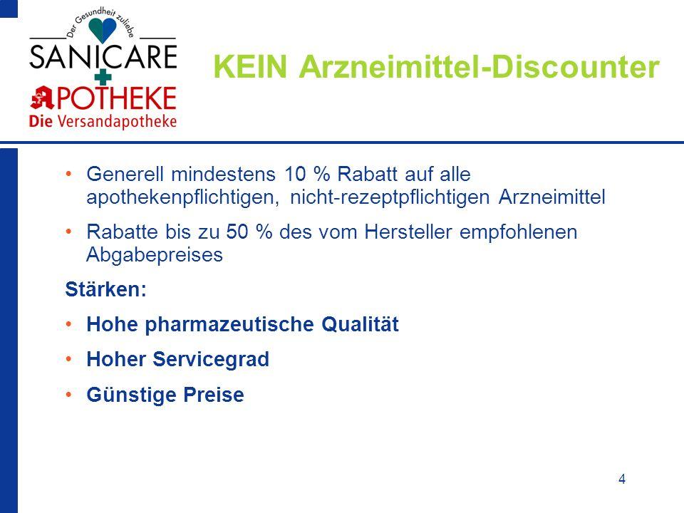4 KEIN Arzneimittel-Discounter Generell mindestens 10 % Rabatt auf alle apothekenpflichtigen, nicht-rezeptpflichtigen Arzneimittel Rabatte bis zu 50 %