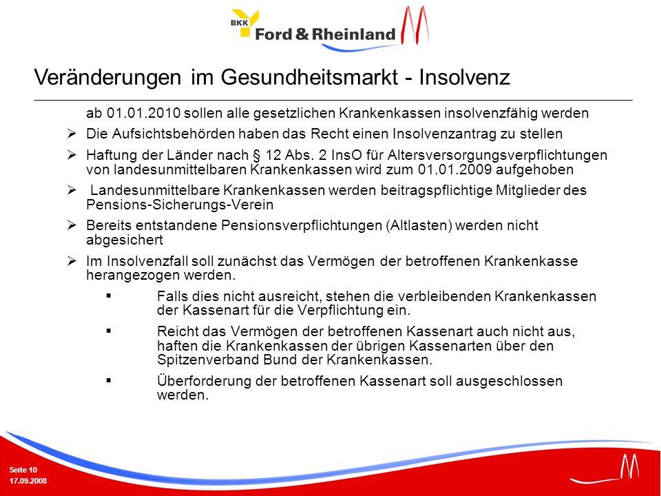 Seite 10 17.09.2008 ab 01.01.2010 sollen alle gesetzlichen Krankenkassen insolvenzfähig werden Die Aufsichtsbehörden haben das Recht einen Insolvenzan