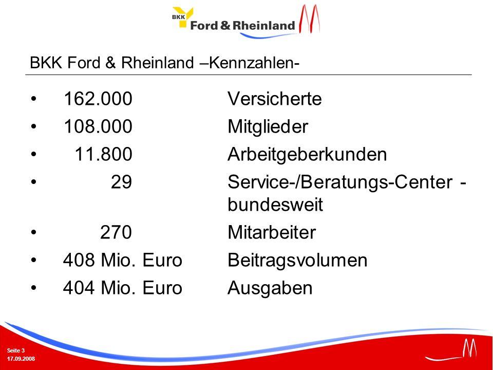 Seite 3 17.09.2008 162.000Versicherte 108.000Mitglieder 11.800Arbeitgeberkunden 29Service-/Beratungs-Center - bundesweit 270Mitarbeiter 408 Mio. EuroB