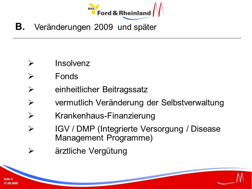 Seite 9 17.09.2008 Insolvenz Fonds einheitlicher Beitragssatz vermutlich Veränderung der Selbstverwaltung Krankenhaus-Finanzierung IGV / DMP (Integrierte Versorgung / Disease Management Programme) ärztliche Vergütung B.