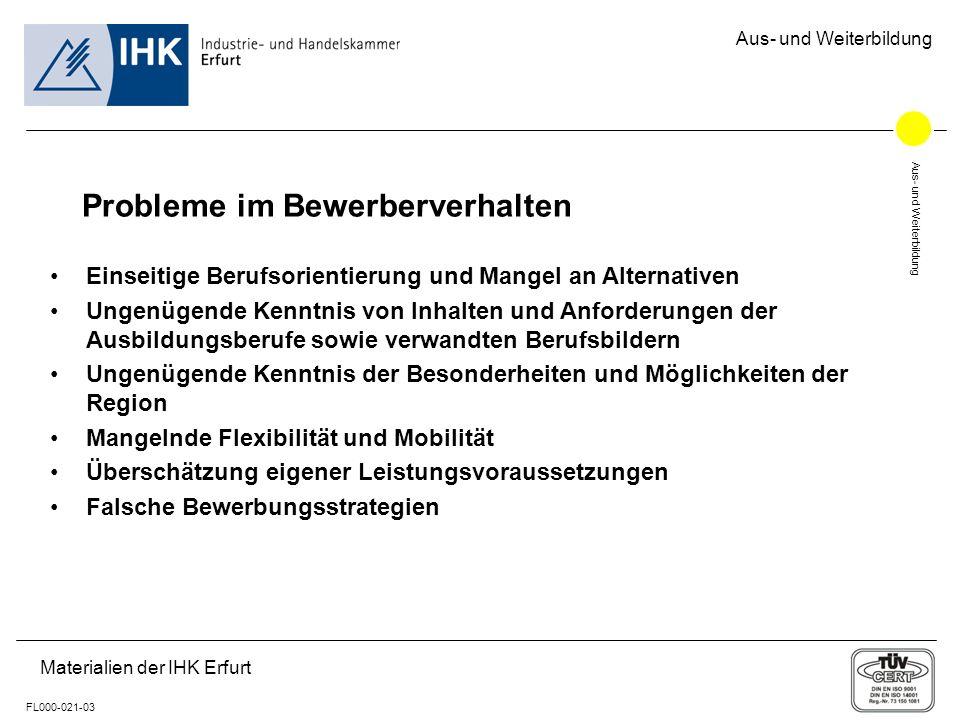 Aus- und Weiterbildung FL000-021-03 Materialien der IHK Erfurt Aus- und Weiterbildung Probleme im Bewerberverhalten Einseitige Berufsorientierung und