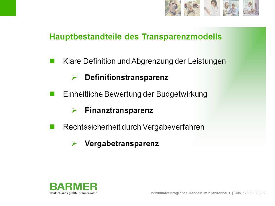 Individualvertragliches Handeln im Krankenhaus | Köln, 17.9.2008 | 12 Hauptbestandteile des Transparenzmodells Klare Definition und Abgrenzung der Lei