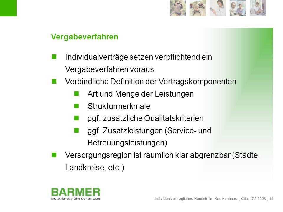Individualvertragliches Handeln im Krankenhaus | Köln, 17.9.2008 | 19 Vergabeverfahren Individualverträge setzen verpflichtend ein Vergabeverfahren vo