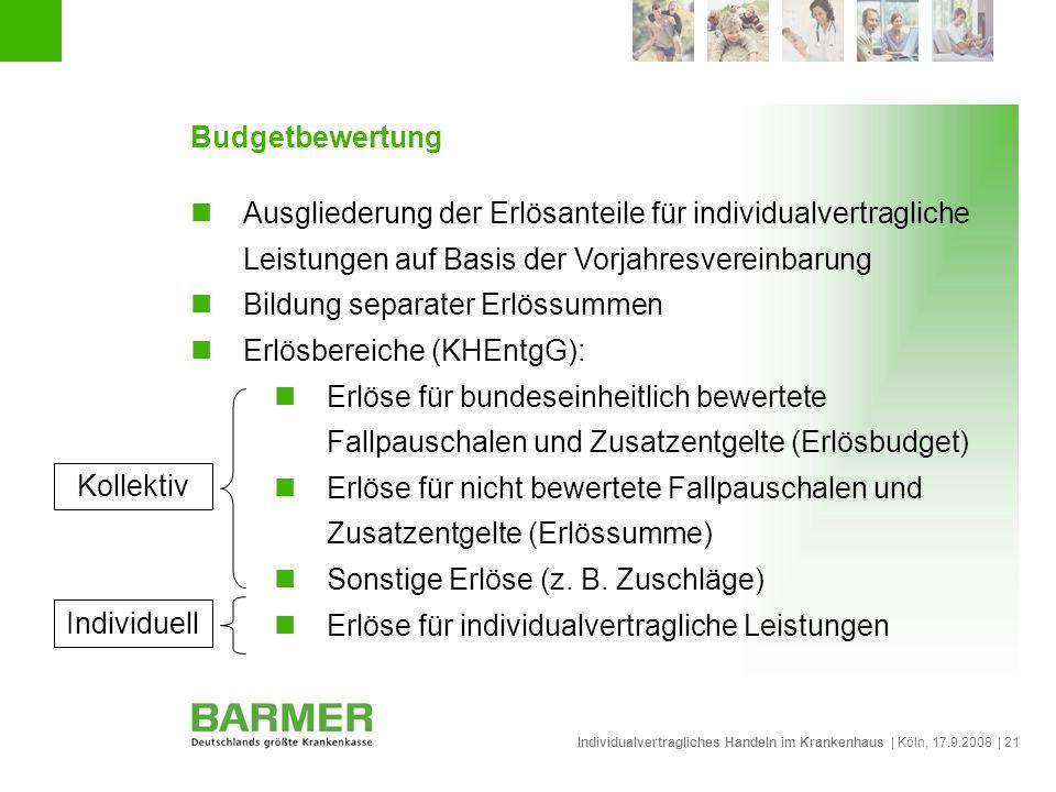 Individualvertragliches Handeln im Krankenhaus | Köln, 17.9.2008 | 21 Budgetbewertung Ausgliederung der Erlösanteile für individualvertragliche Leistu