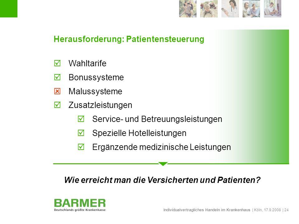 Individualvertragliches Handeln im Krankenhaus | Köln, 17.9.2008 | 24 Herausforderung: Patientensteuerung Wahltarife Bonussysteme Malussysteme Zusatzl