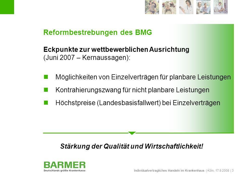 Individualvertragliches Handeln im Krankenhaus | Köln, 17.9.2008 | 3 Reformbestrebungen des BMG Eckpunkte zur wettbewerblichen Ausrichtung (Juni 2007