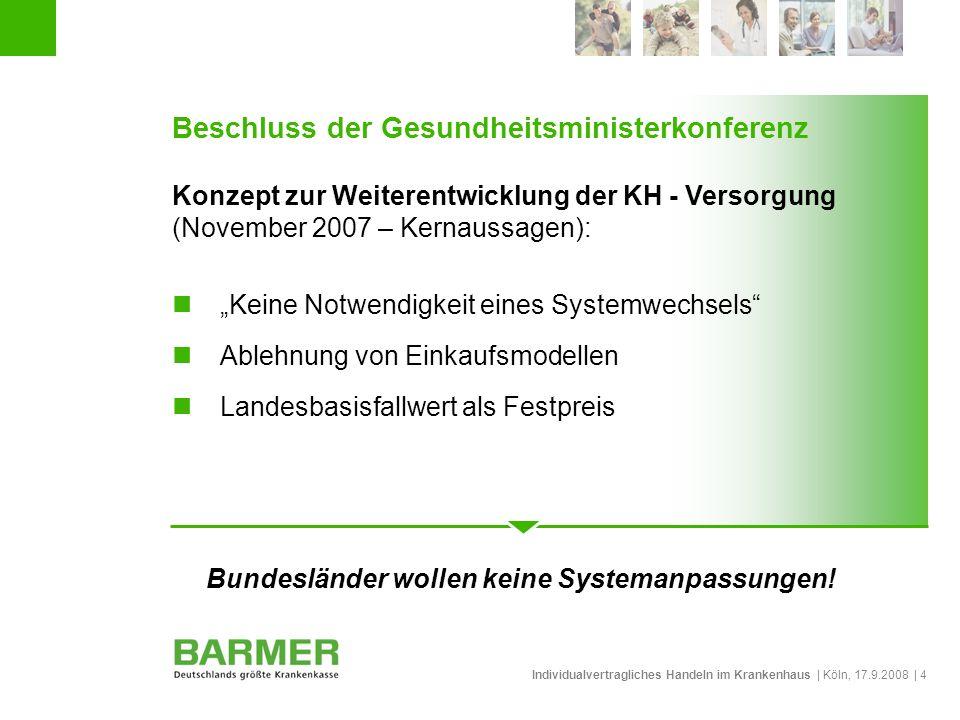 Individualvertragliches Handeln im Krankenhaus | Köln, 17.9.2008 | 4 Beschluss der Gesundheitsministerkonferenz Konzept zur Weiterentwicklung der KH -
