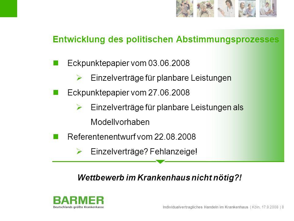 Individualvertragliches Handeln im Krankenhaus | Köln, 17.9.2008 | 8 Entwicklung des politischen Abstimmungsprozesses Eckpunktepapier vom 03.06.2008 E