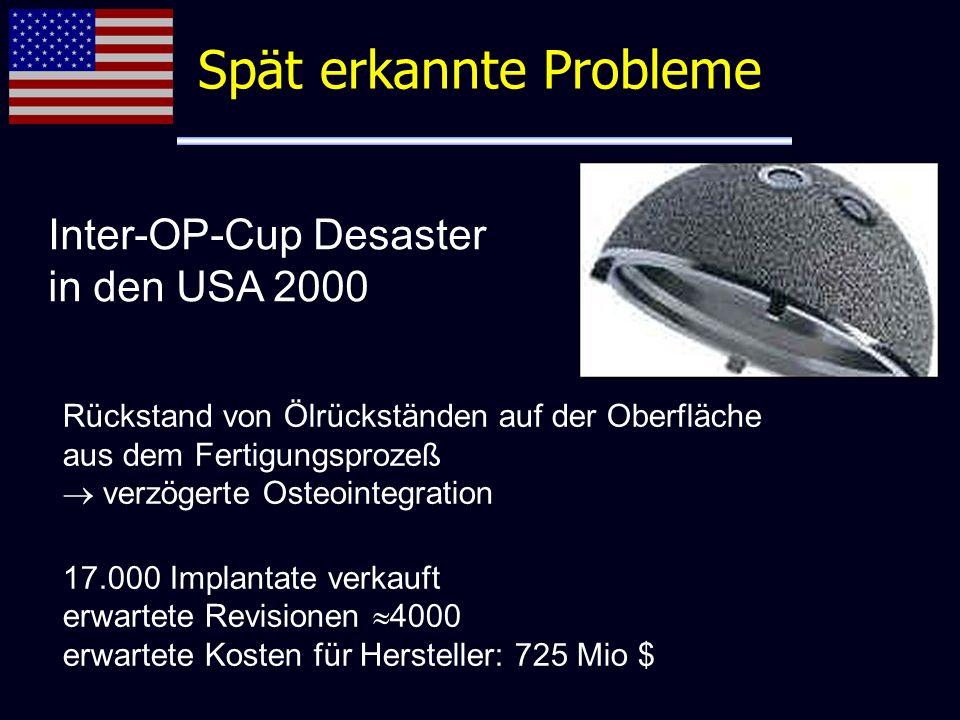 Inter-OP-Cup Desaster in den USA 2000 Rückstand von Ölrückständen auf der Oberfläche aus dem Fertigungsprozeß verzögerte Osteointegration 17.000 Impla