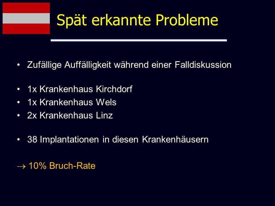 Zufällige Auffälligkeit während einer Falldiskussion 1x Krankenhaus Kirchdorf 1x Krankenhaus Wels 2x Krankenhaus Linz 38 Implantationen in diesen Kran