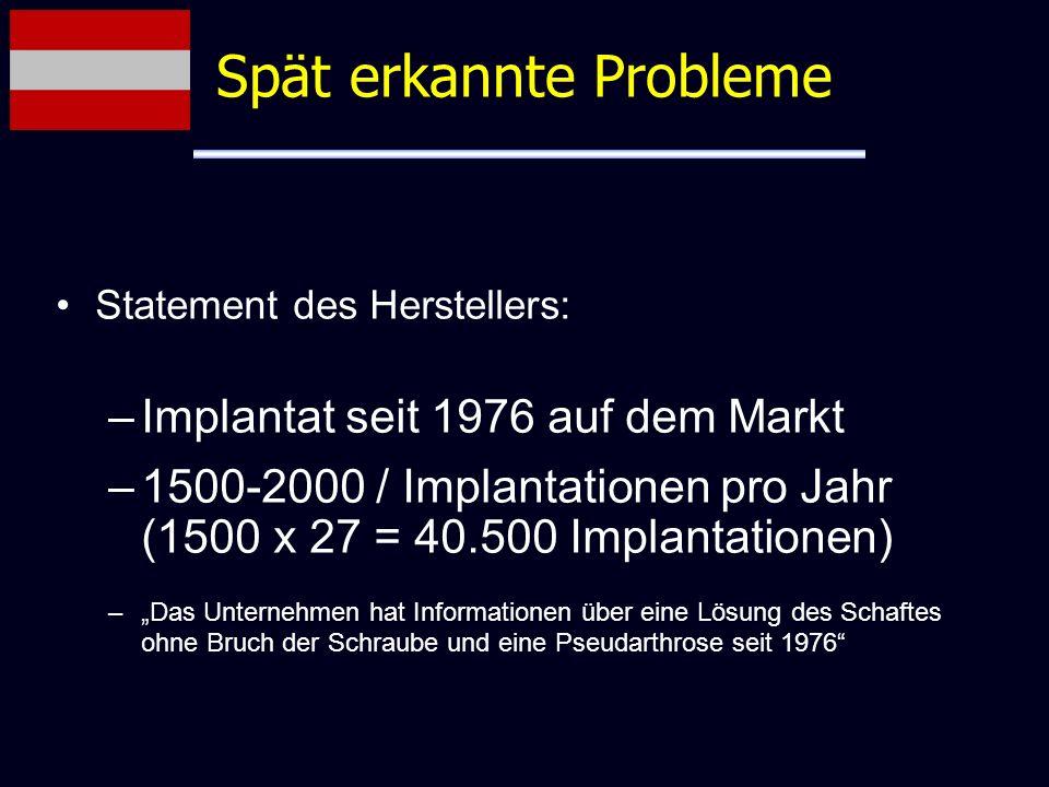Statement des Herstellers: –Implantat seit 1976 auf dem Markt –1500-2000 / Implantationen pro Jahr (1500 x 27 = 40.500 Implantationen) –Das Unternehme