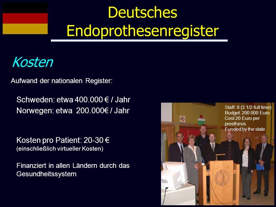 Deutsches Endoprothesenregister Kosten Aufwand der nationalen Register: Schweden: etwa 400.000 / Jahr Norwegen: etwa 200.000 / Jahr Kosten pro Patient