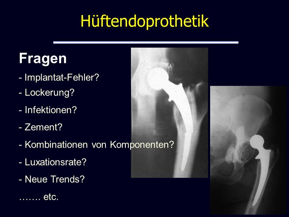 Juni 2004 – Oktober 2006: 43 Brüche bei 2369 Implantationen Prothesensystem vom Markt genommen