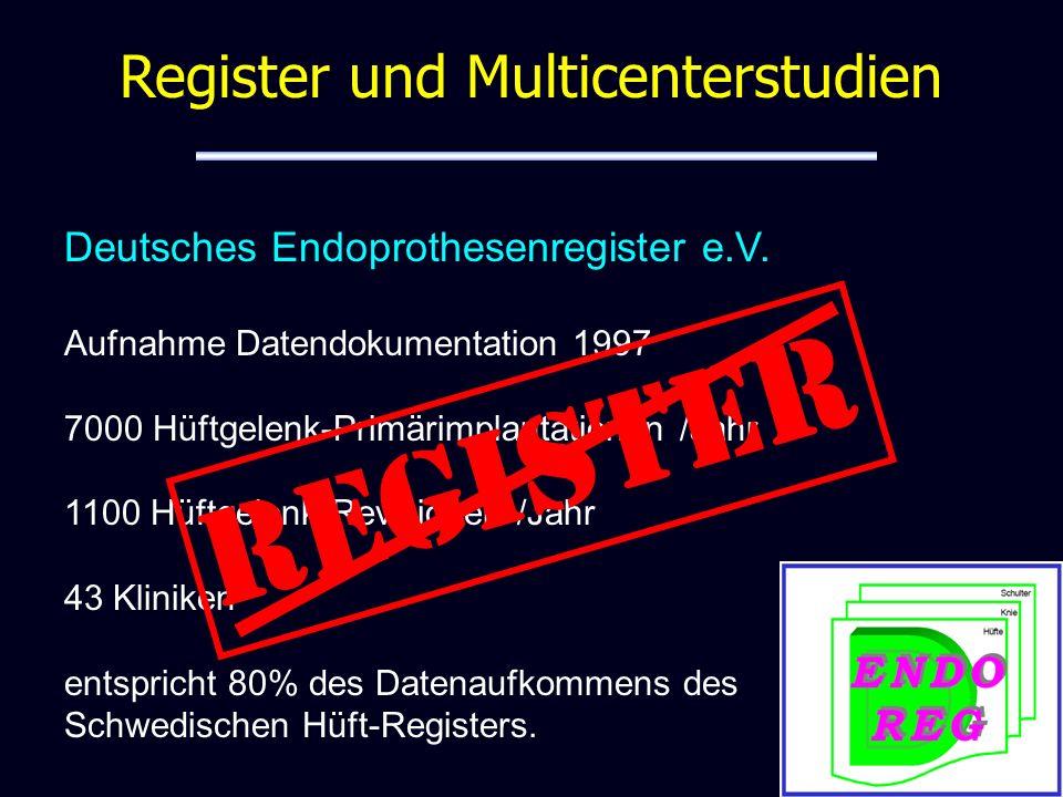 Monocenter - Multicenter Register und Multicenterstudien Register in Orthopädie und Unfallchirurgie – Deutsches Register Osteopathischer Medizin – Deutsches Schulterprothesenregister (seit Januar 2006) – Traumaregister der DGU – Deutsches Endoprothesenregister e.V.