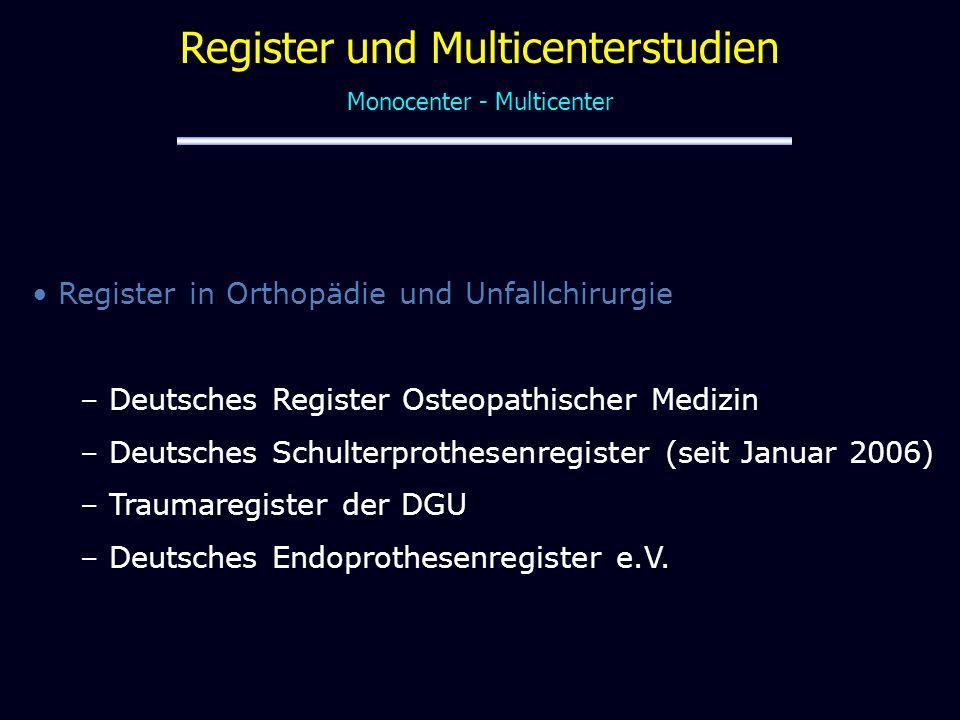 1975: Meeting der Schwedischen Orthopädenvereinigung in Uppsala: landesweite Multicenterstudie gestartet mit der die Knieprothesenimplantation beobachtet werden sollte war der Start für das Schwedische Knie-ER Register (Lund) 1979: Start des Schwedischen Hüftregisters (Göteborg) 1987: Norwegisches Hüftregister (Bergen) Finnland Datensammlung seit 1980 Norwegen erweitert 1994 auf Knie-, Sprunggelenk-, Schulter-, Ellbogen- und Handimplantate Traditionelle Register
