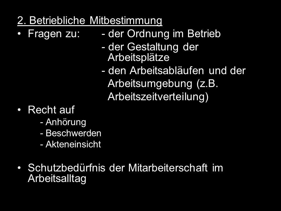 2. Betriebliche Mitbestimmung Fragen zu:- der Ordnung im Betrieb - der Gestaltung der Arbeitsplätze - den Arbeitsabläufen und der Arbeitsumgebung (z.B