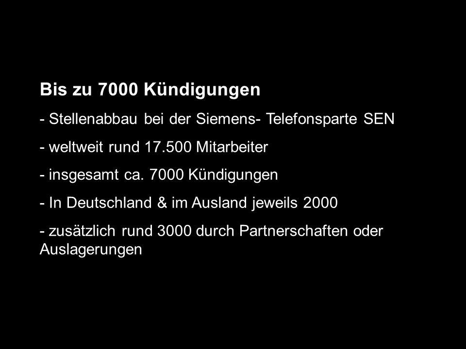 Bis zu 7000 Kündigungen - Stellenabbau bei der Siemens- Telefonsparte SEN - weltweit rund 17.500 Mitarbeiter - insgesamt ca. 7000 Kündigungen - In Deu