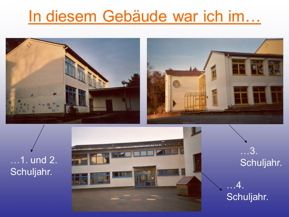 In diesem Gebäude war ich im… …1. und 2. Schuljahr. …3. Schuljahr. …4. Schuljahr.