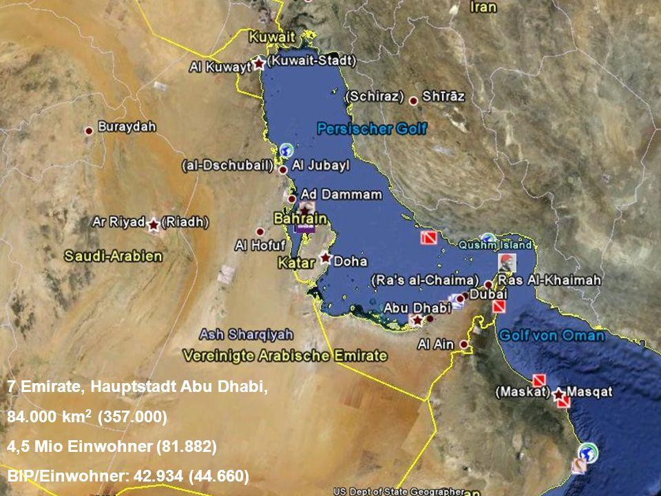 7 Emirate, Hauptstadt Abu Dhabi, 84.000 km 2 (357.000) 4,5 Mio Einwohner (81.882) BIP/Einwohner: 42.934 (44.660)