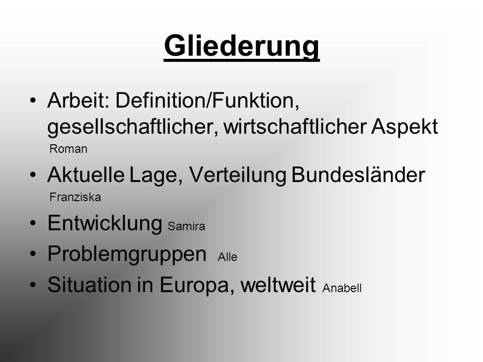 Gliederung Arbeit: Definition/Funktion, gesellschaftlicher, wirtschaftlicher Aspekt Roman Aktuelle Lage, Verteilung Bundesländer Franziska Entwicklung