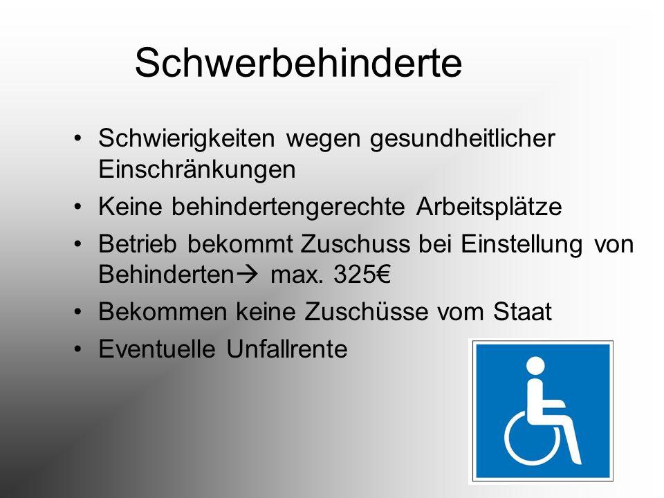 Schwerbehinderte Schwierigkeiten wegen gesundheitlicher Einschränkungen Keine behindertengerechte Arbeitsplätze Betrieb bekommt Zuschuss bei Einstellu