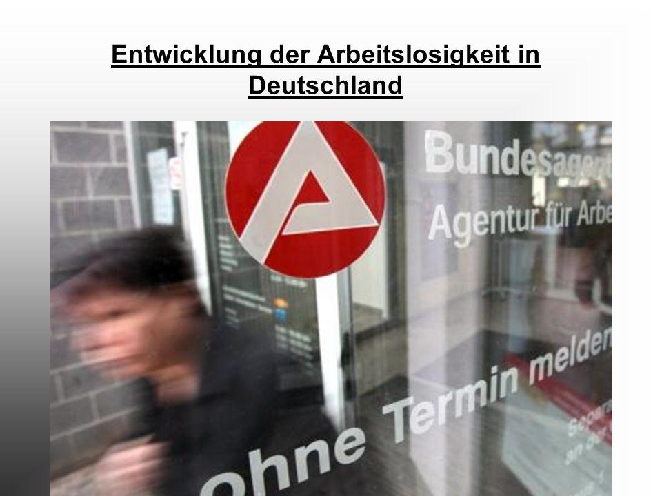 Entwicklung der Arbeitslosigkeit in Deutschland