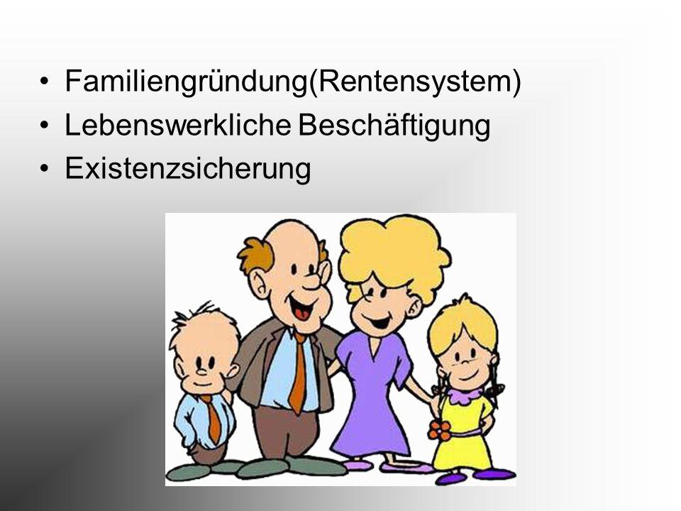 Familiengründung(Rentensystem) Lebenswerkliche Beschäftigung Existenzsicherung