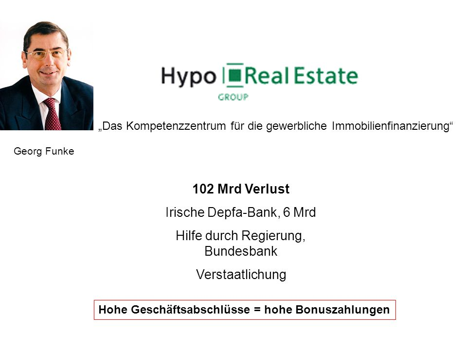 Das Kompetenzzentrum für die gewerbliche Immobilienfinanzierung Georg Funke 102 Mrd Verlust Irische Depfa-Bank, 6 Mrd Hilfe durch Regierung, Bundesban