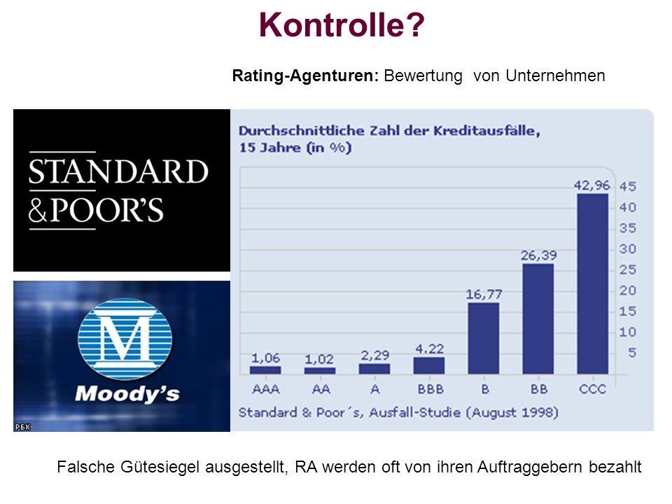 Kontrolle? Rating-Agenturen: Bewertung von Unternehmen Falsche Gütesiegel ausgestellt, RA werden oft von ihren Auftraggebern bezahlt