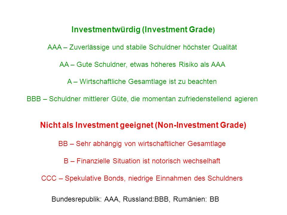 Investmentwürdig (Investment Grade ) AAA – Zuverlässige und stabile Schuldner höchster Qualität AA – Gute Schuldner, etwas höheres Risiko als AAA A –