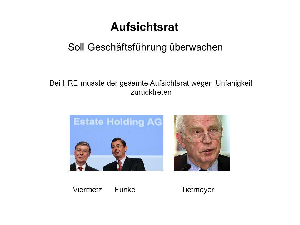 Aufsichtsrat Soll Geschäftsführung überwachen Bei HRE musste der gesamte Aufsichtsrat wegen Unfähigkeit zurücktreten Viermetz Funke Tietmeyer