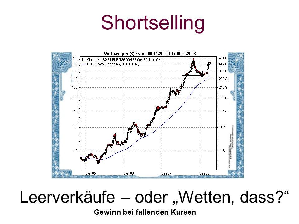 Shortselling Leerverkäufe – oder Wetten, dass? Gewinn bei fallenden Kursen