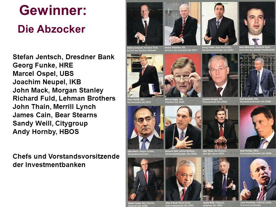 Die Abzocker Gewinner: Stefan Jentsch, Dresdner Bank Georg Funke, HRE Marcel Ospel, UBS Joachim Neupel, IKB John Mack, Morgan Stanley Richard Fuld, Le