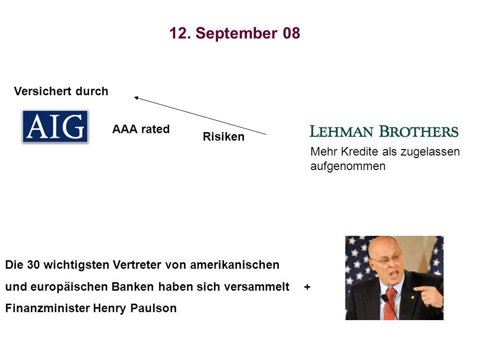 AAA rated Risiken Versichert durch 12. September 08 Die 30 wichtigsten Vertreter von amerikanischen und europäischen Banken haben sich versammelt + Fi