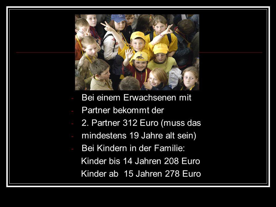 - Bei einem Erwachsenen mit - Partner bekommt der - 2. Partner 312 Euro (muss das - mindestens 19 Jahre alt sein) - Bei Kindern in der Familie: Kinder