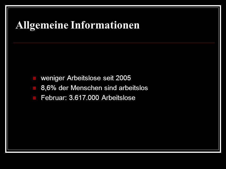 Allgemeine Informationen weniger Arbeitslose seit 2005 8,6% der Menschen sind arbeitslos Februar: 3.617.000 Arbeitslose