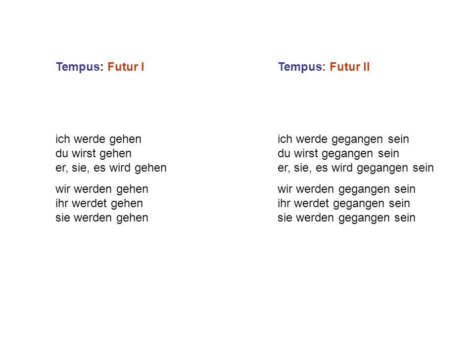 Tempus: Futur I ich werde gehen du wirst gehen er, sie, es wird gehen wir werden gehen ihr werdet gehen sie werden gehen Tempus: Futur II ich werde ge