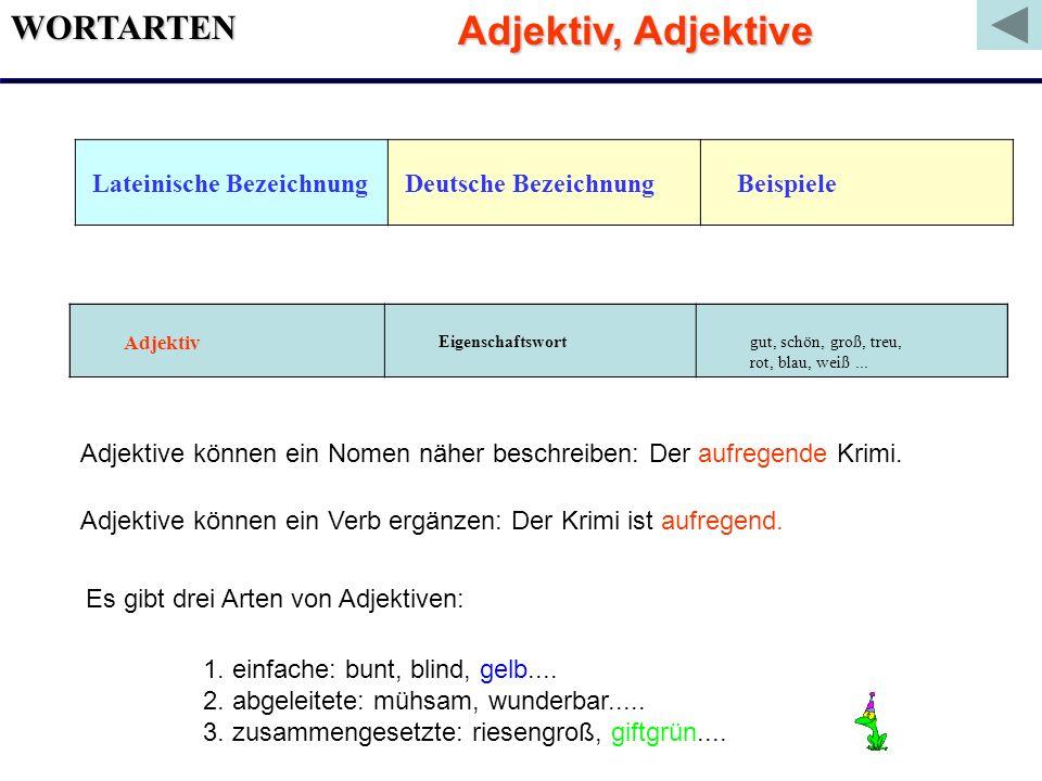 WORTARTEN Lateinische Bezeichnung Deutsche Bezeichnung Beispiele Adjektiv Eigenschaftswort gut, schön, groß, treu, rot, blau, weiß... Adjektive können